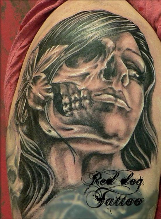 Two Face Skull Tattoo Projects To Try Face Tattoos For Ideas And Designs