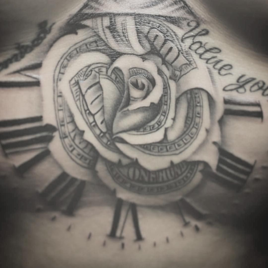 Sternum Tattoo Of Our Classic Money Rose Nicely Done By Ideas And Designs