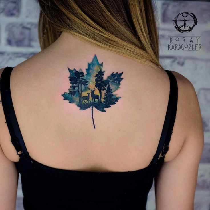 Watercolor Tattoo • T R U E • N O R T H • Maple Leaf Ideas And Designs