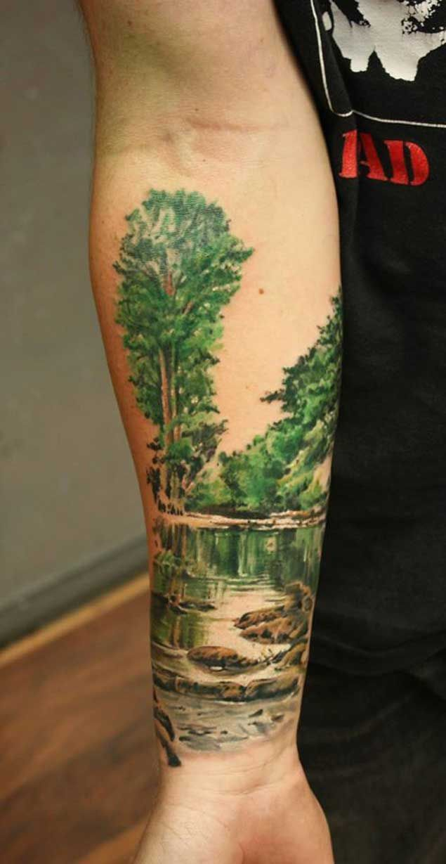 20 Scenic Landscape Tattoos Landscapes Nature Tattoo Ideas And Designs