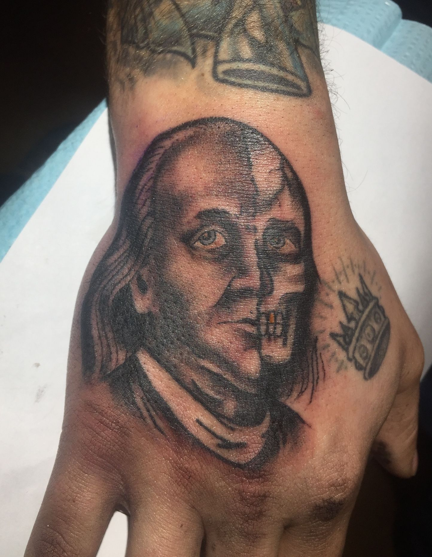 Two Faced Benjamin Franklin Tattoo Made By Jef Wright Ideas And Designs