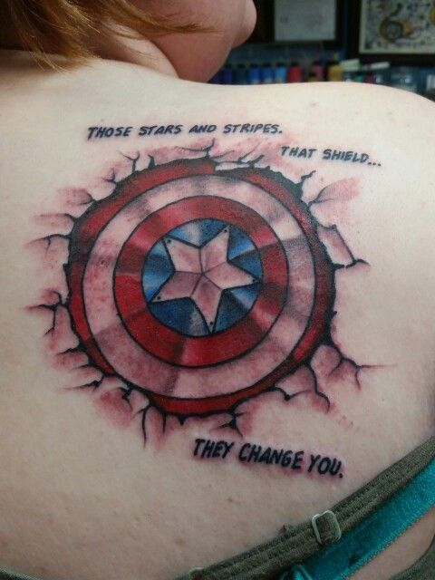 Captain America Tattoo By Nick At Blue Line Tattoo In La Ideas And Designs