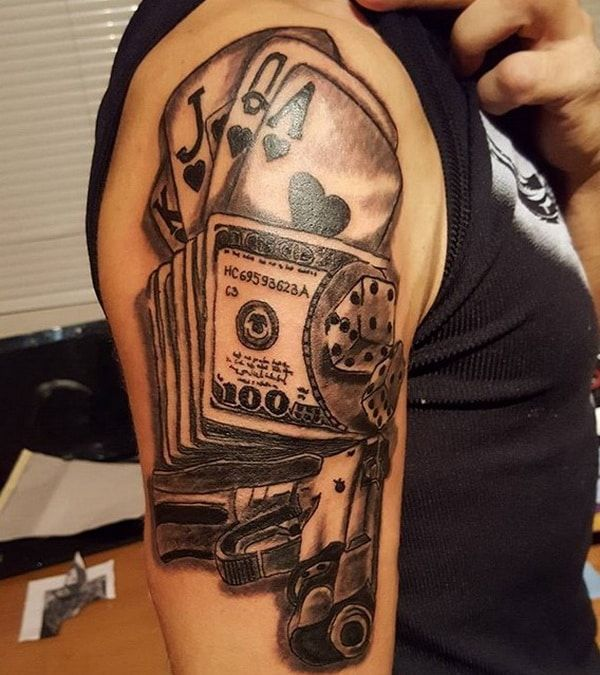 Gun Money And Cards Tattoo Design 2018 2019 Tattoo Ideas And Designs