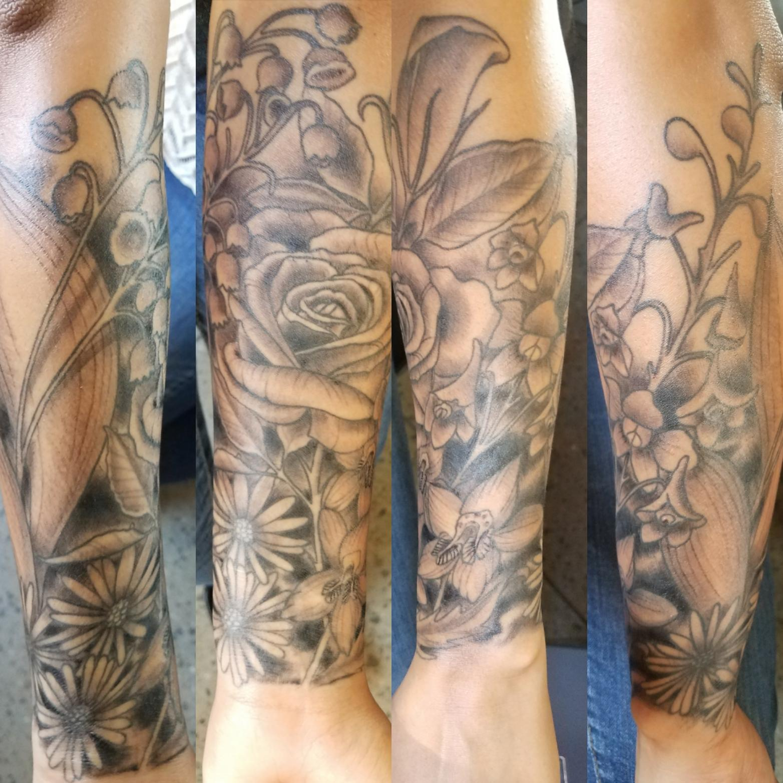 My Birth Month Flower Half Sleeve Done By Marcus Aday At Ideas And Designs