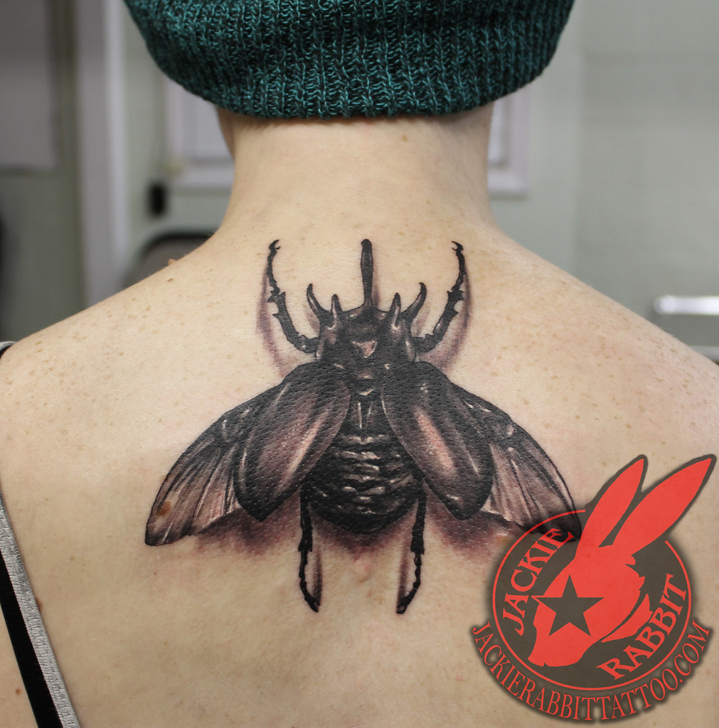 Rhinoceros Beetle Realistic 3D Tattoo By Jackie Rabbit Ideas And Designs