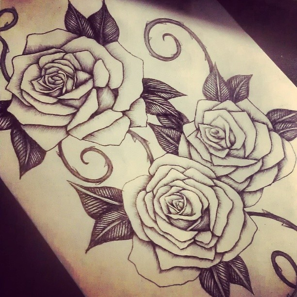 Rose Tattoo Design In Progress By Smonters On Deviantart Ideas And Designs