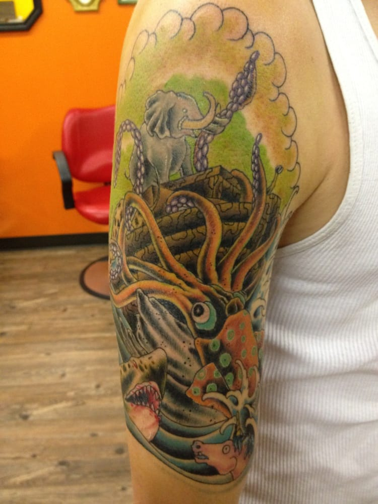 Half Sleeve Of Noah S Ark Getting Attacked By A Giant Ideas And Designs
