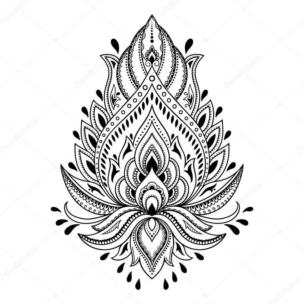 Henna Tattoo Flower Template In Indian Style Ethnic Ideas And Designs