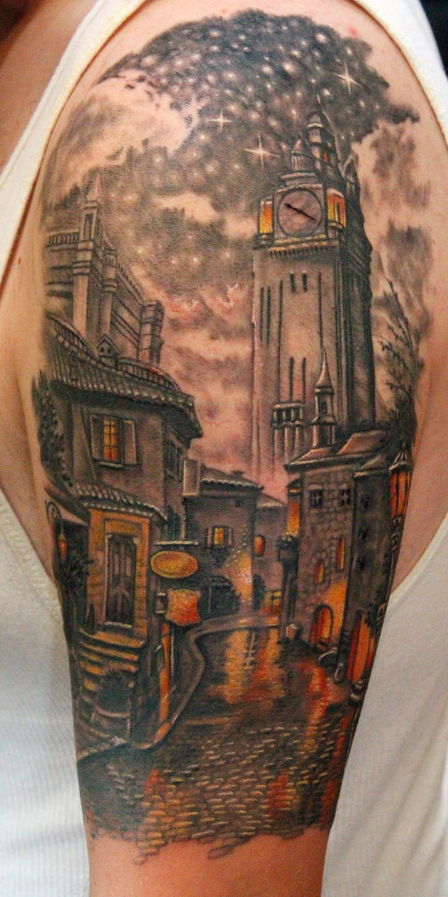 Old Town Clocktower Tattoo By Seanspoison On Deviantart Ideas And Designs