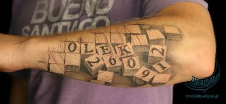 Innovative Crazy Cool 3D Puzzle Lower Sleeve Tattoo Design Ideas And Designs