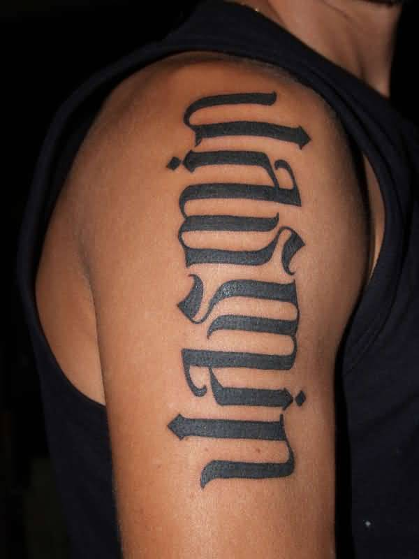 Muscular Shoulder Cover Up Ambigram Font Word Tattoo Ideas And Designs