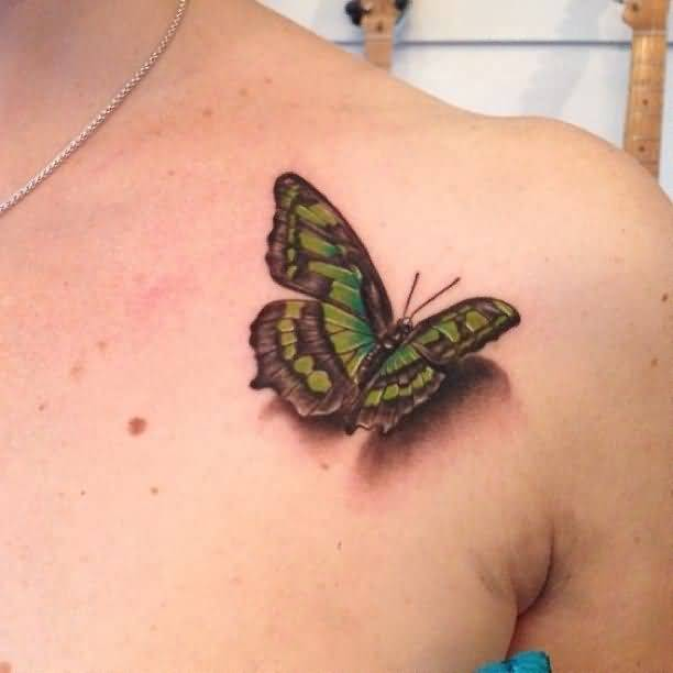Women Collar Bone Decorated With 3D Butterfly Tattoo Ideas And Designs