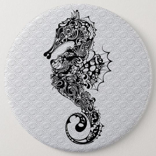 Black White Seahorse Tattoo Style 6 Cm Round Badge Ideas And Designs