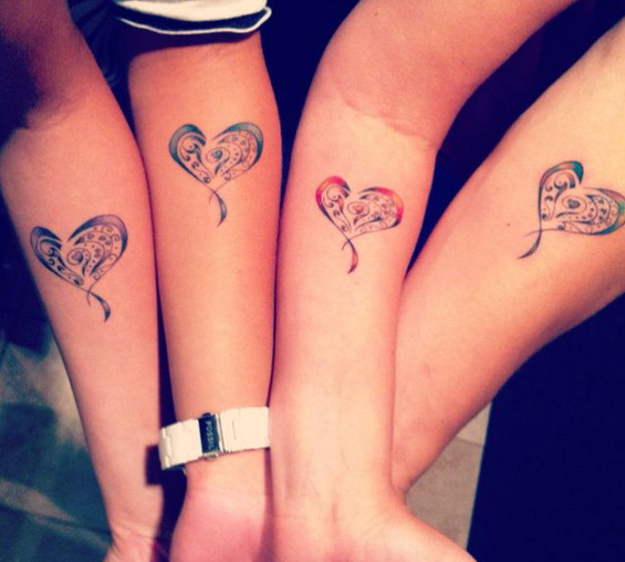 Three Sisters And His Mother With A Heart Tattooed Henna Ideas And Designs