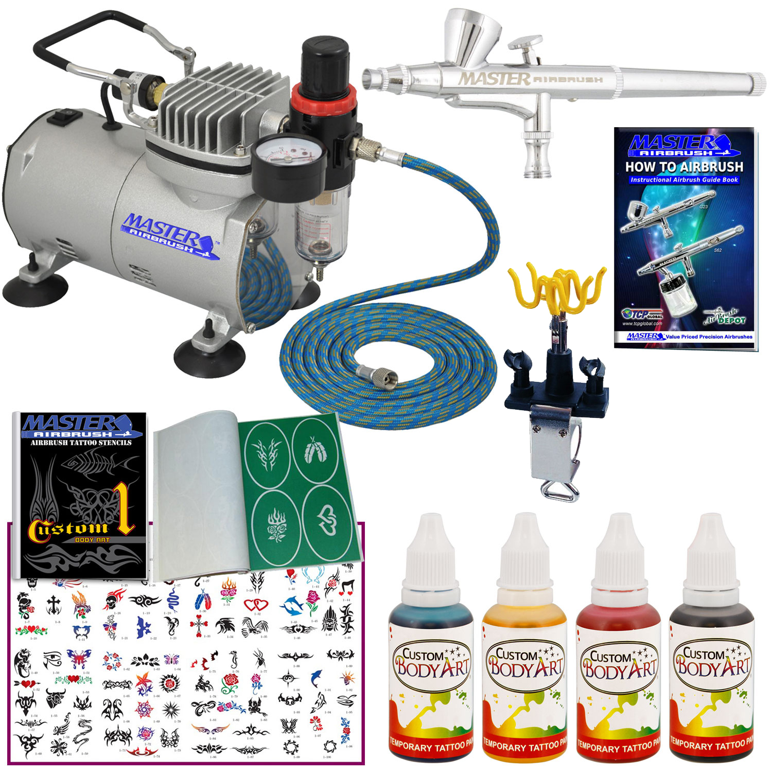 Complete Temporary Tattoo Airbrush Air Compressor Kit Body Ideas And Designs