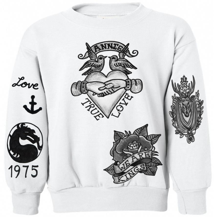 Matt Healy The 1975 Tattoos Crewneck From Crewwear Crewwear Ideas And Designs