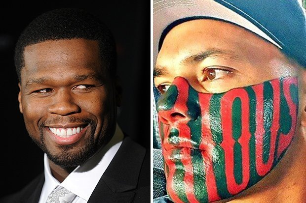 50 Cent Mocks Notorious Face Tattoo Man On Instagram Ideas And Designs