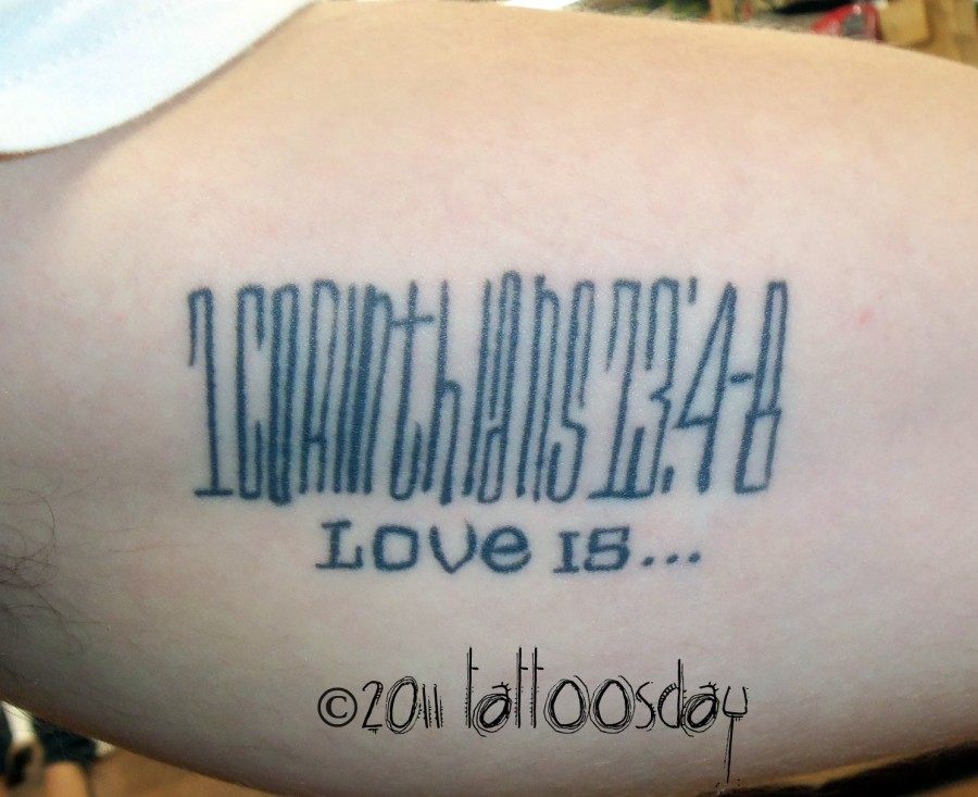 Bible Verse Tattoo From 1 Corinthians 13 Verses 4 8 Ideas And Designs