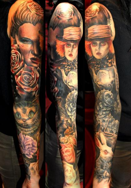 Fantasy Tim Burton Alice Wonderland Sleeve Tattoo By Ideas And Designs