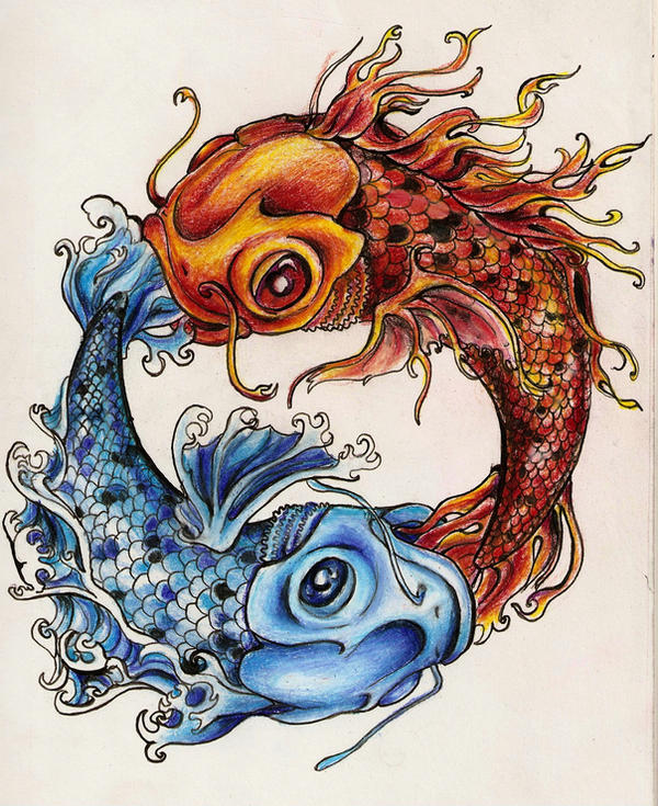 Two Koi Colored Tattoo By Shepimp On Deviantart Ideas And Designs