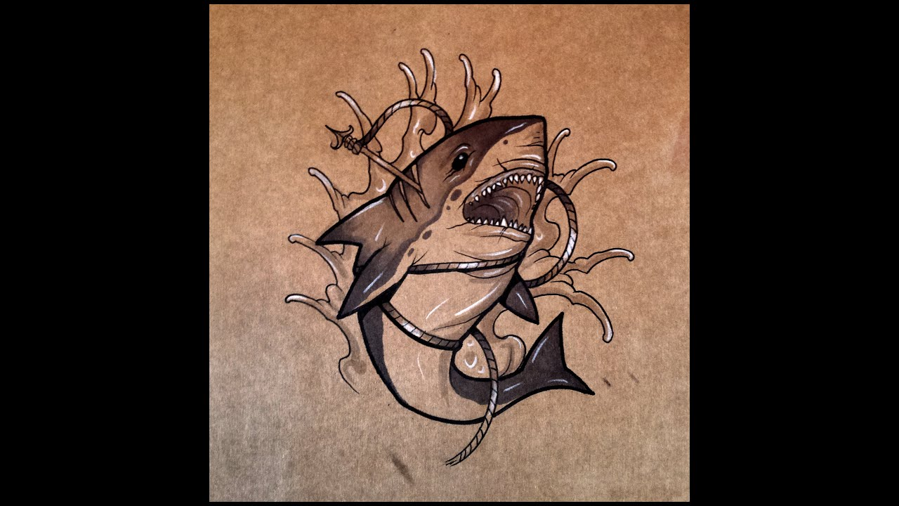 How To Draw A Shark Tattoo Style By Thebrokenpuppet Youtube Ideas And Designs
