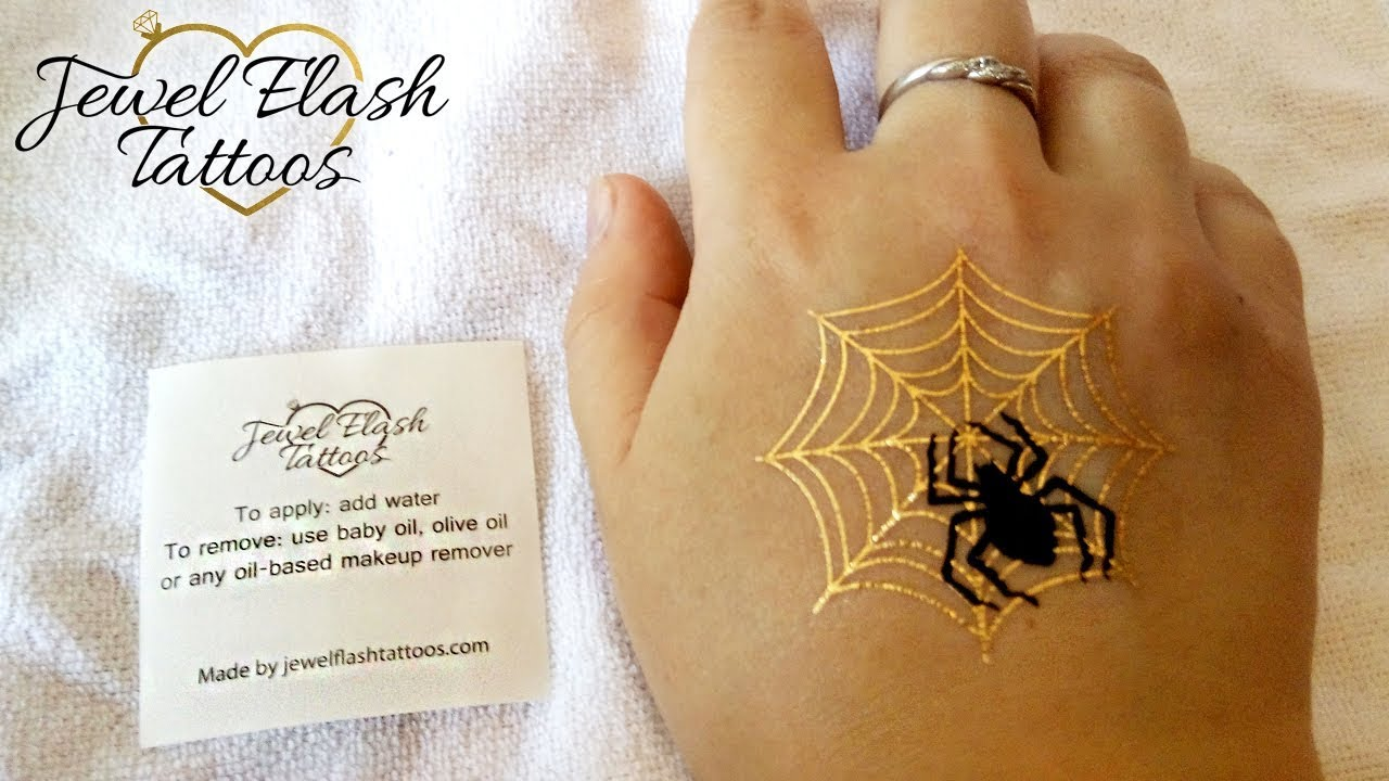 Spider Gold Net Tattoo For Adults Halloween Temporary Ideas And Designs