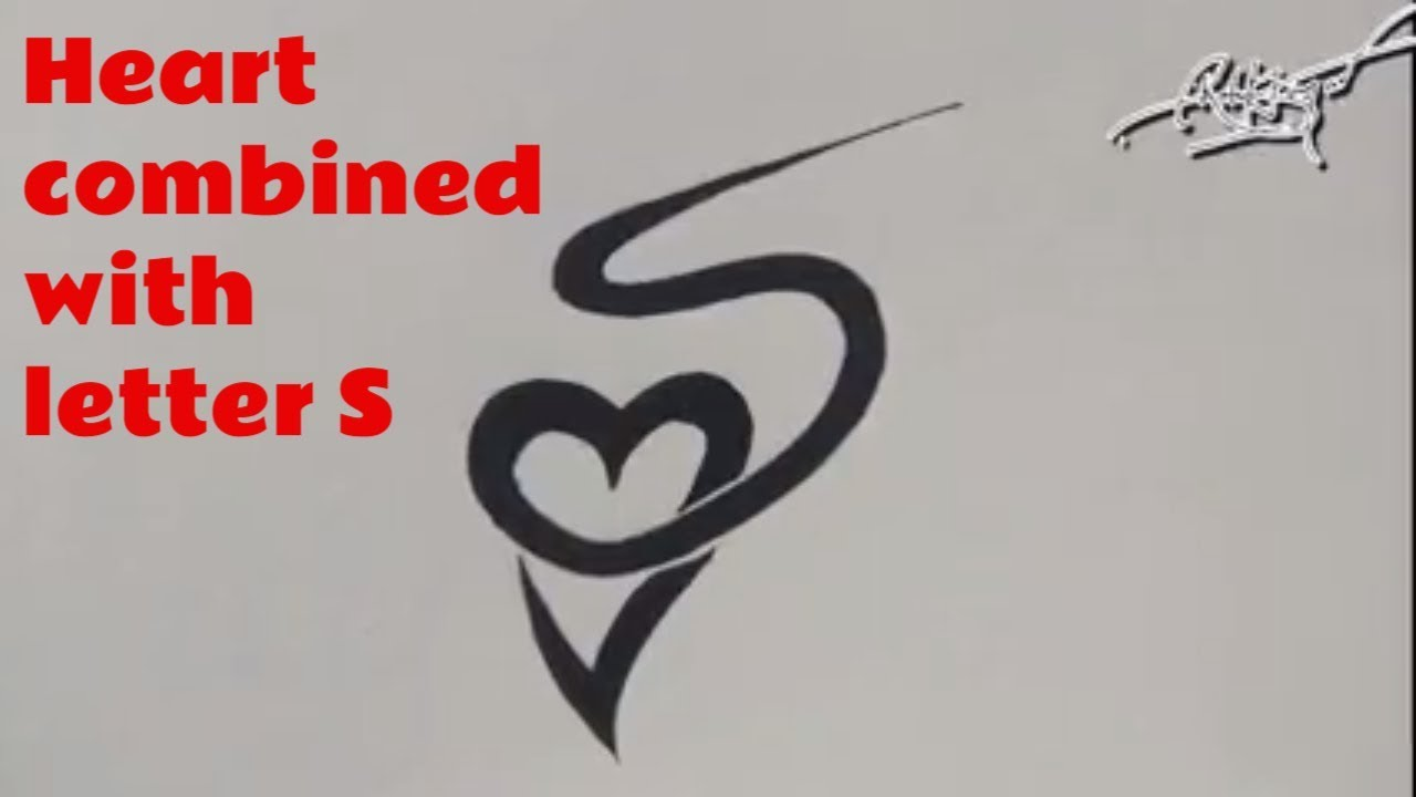 Heart Combined With Alphabet Letter S Easy And Simple Ideas And Designs