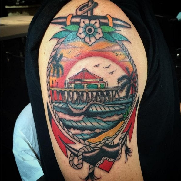 First Tattoo Hb Pier By Griffen Gurzi At Captured Tattoo Ideas And Designs