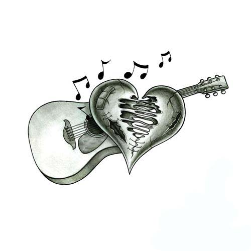 Beaten Up Heart And Acoustic Guitar Tattoo Design Ideas And Designs