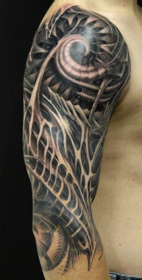 Dark Ornamented Wired Biomechanical Tattoo On Arm Ideas And Designs
