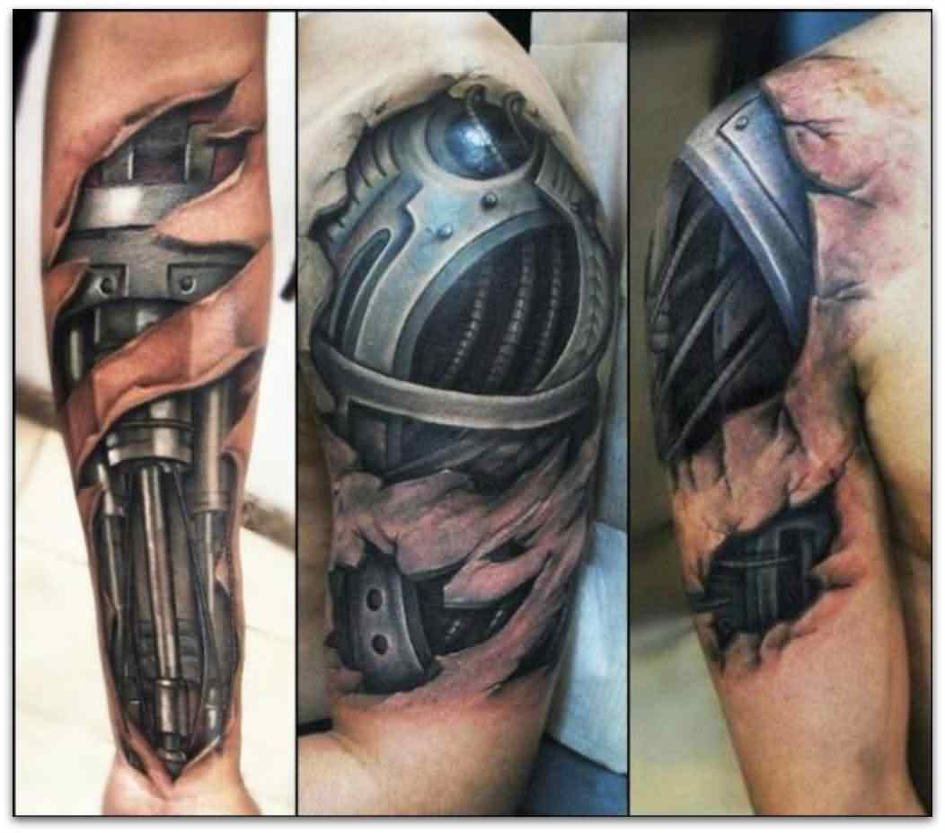 Latest 3D Biomechanical Tattoo On Sleeve – Truetattoos Ideas And Designs
