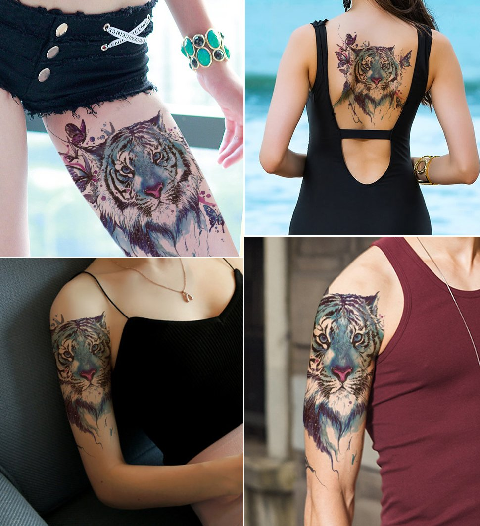 Amazon Com Dalin Large Temporary Tattoos 4 Sheets Blue Ideas And Designs
