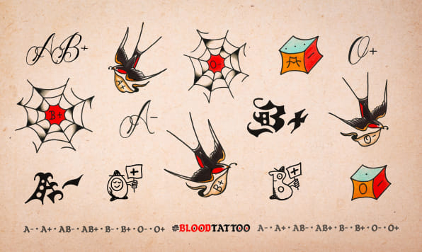 Can These Blood Type Tattoos Encourage More Blood Donations Ideas And Designs