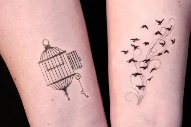 Open Cage And Birds In Flight Temporary Tattoo Set By Ideas And Designs