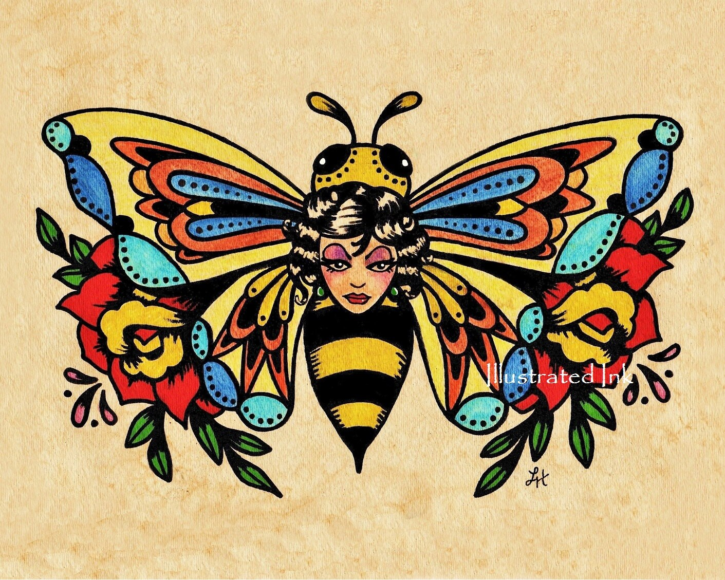 Old School Tattoo Art Flash Bee Butterfly Skull Moth Prints Ideas And Designs