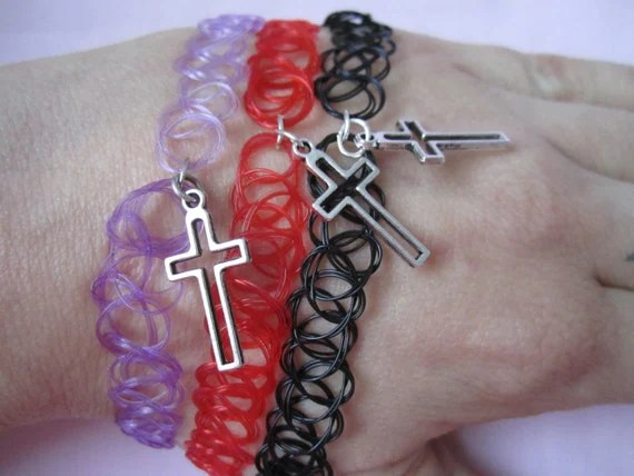 90S Plastic Tattoo Choker Necklace With Silver Cross Charm Ideas And Designs