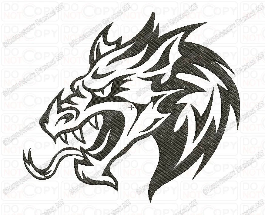 Chinese Dragon Head Tattoo Style Embroidery Design In 3X3 Ideas And Designs