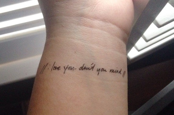 The 1975 Inspired Song Lyric Temporary Tattoo I Love You Ideas And Designs