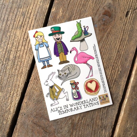 Alice In Wonderland Temporary Tattoos Alice Party By Ideas And Designs