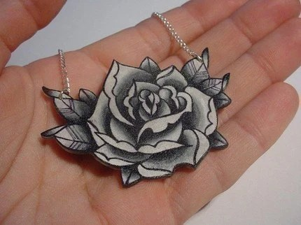 Big Vintage Black And White Surreal Tattoo Rose Necklace Ideas And Designs