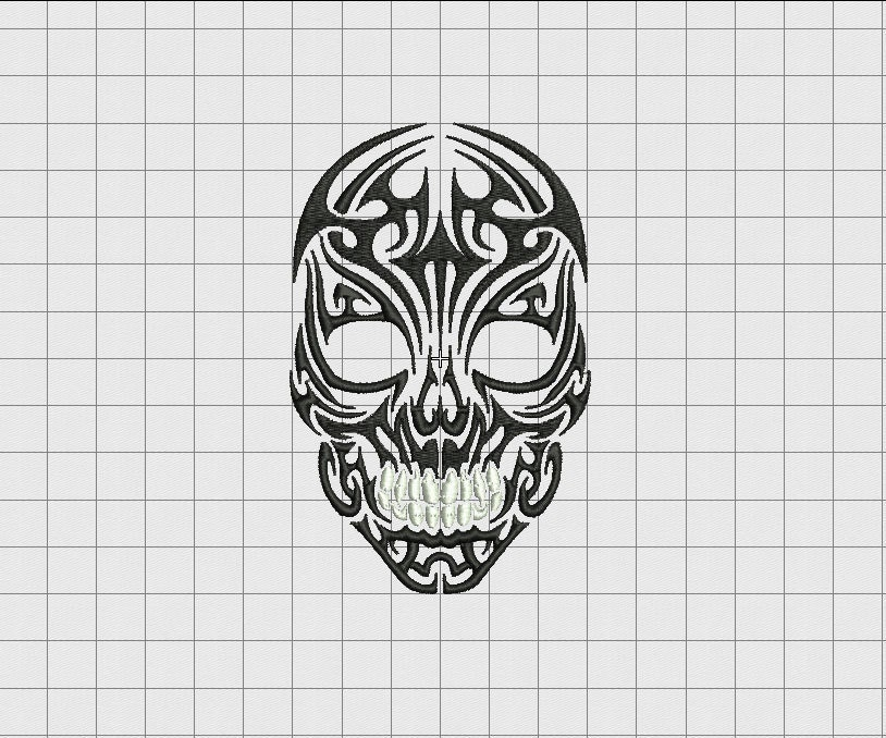Skull Tribal Tattoo Full Stitch Embroidery Design In 3X3 4X4 Ideas And Designs