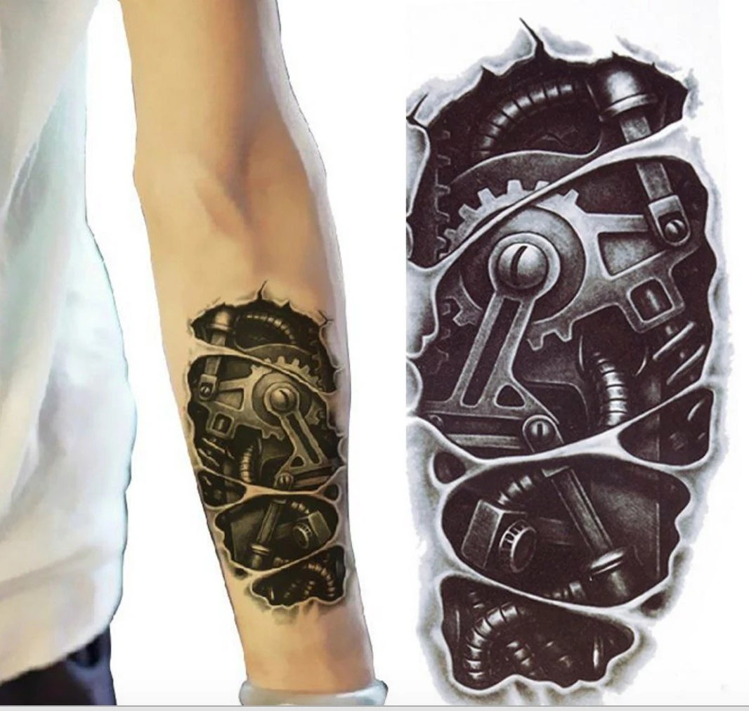 Bionic Robot Temporary Tattoo Sleeve Tattoo Sleeve By Ideas And Designs