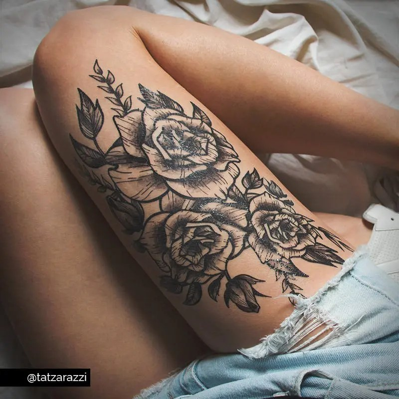 Roses Floral Huge Temporary Tattoo Flowers Bouquet Black And Ideas And Designs