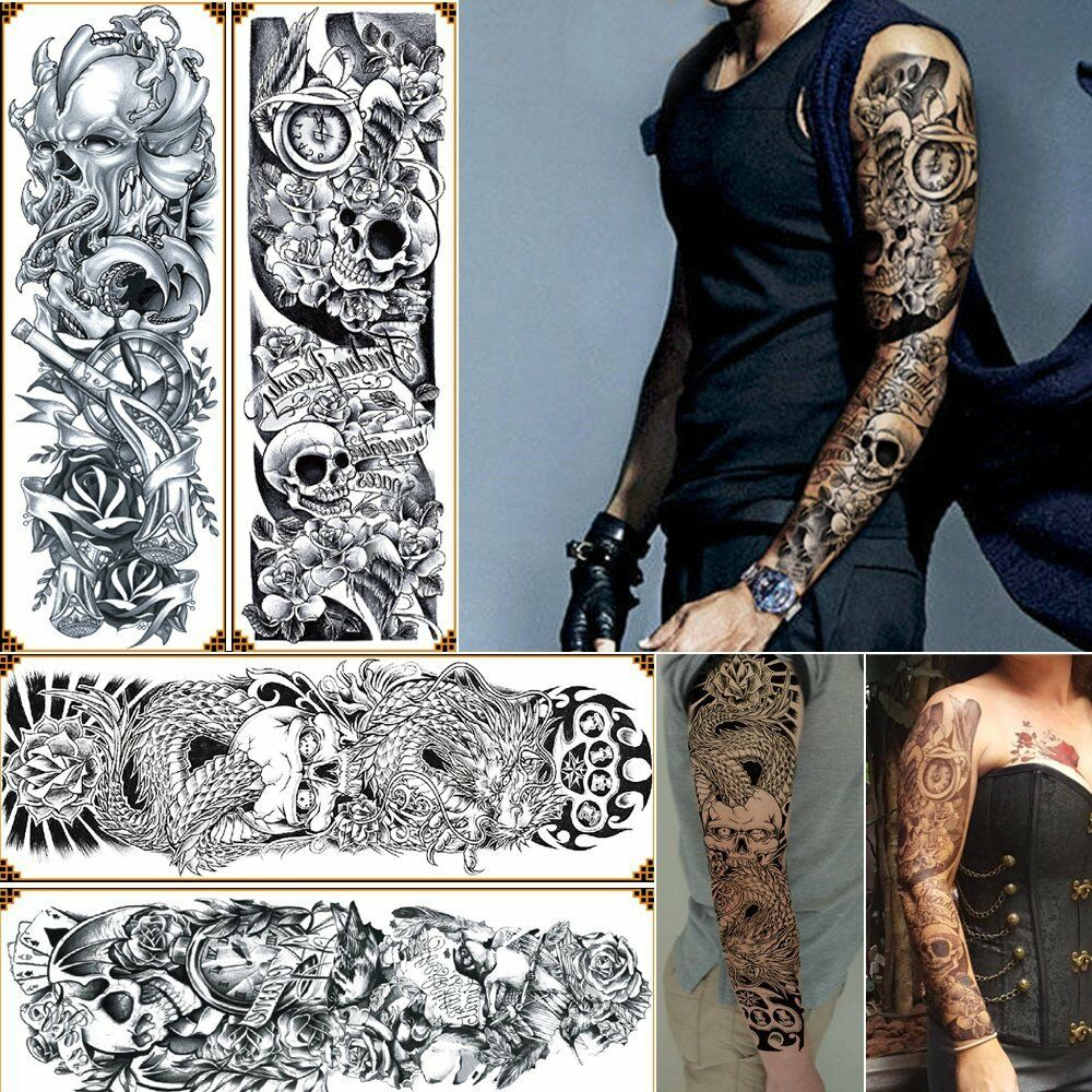 4 Sheets Temporary Tattoos Big Body Arm Tattoo Sticker Ideas And Designs
