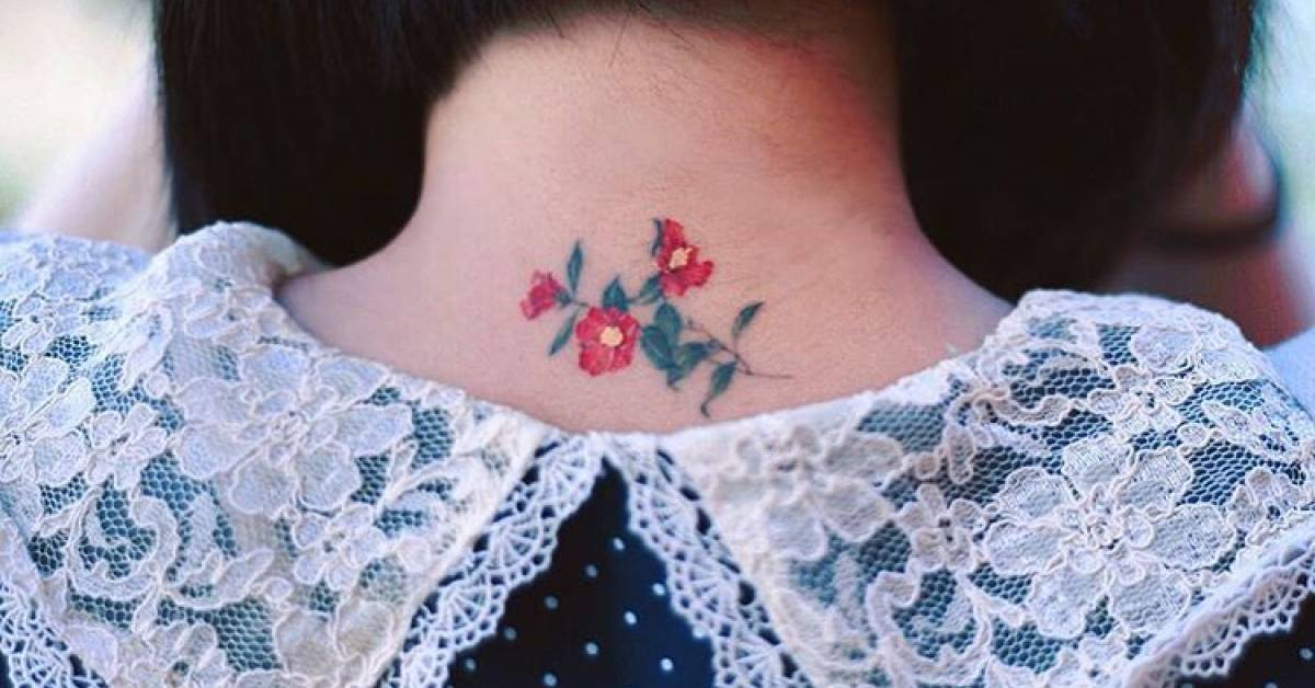 Red Camellia Tattoo On The Back Of The Neck Ideas And Designs