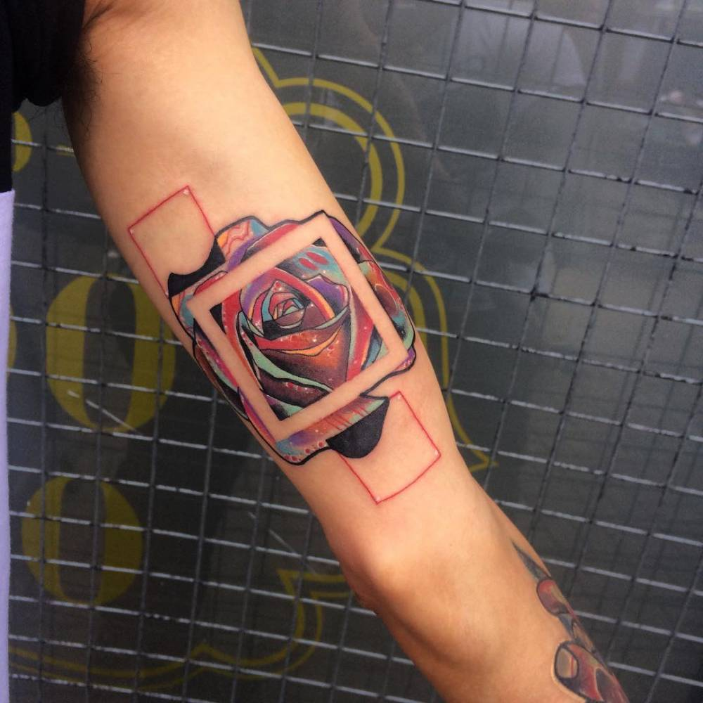 Abstract Square Rose Tattoo On The Inner Arm Ideas And Designs