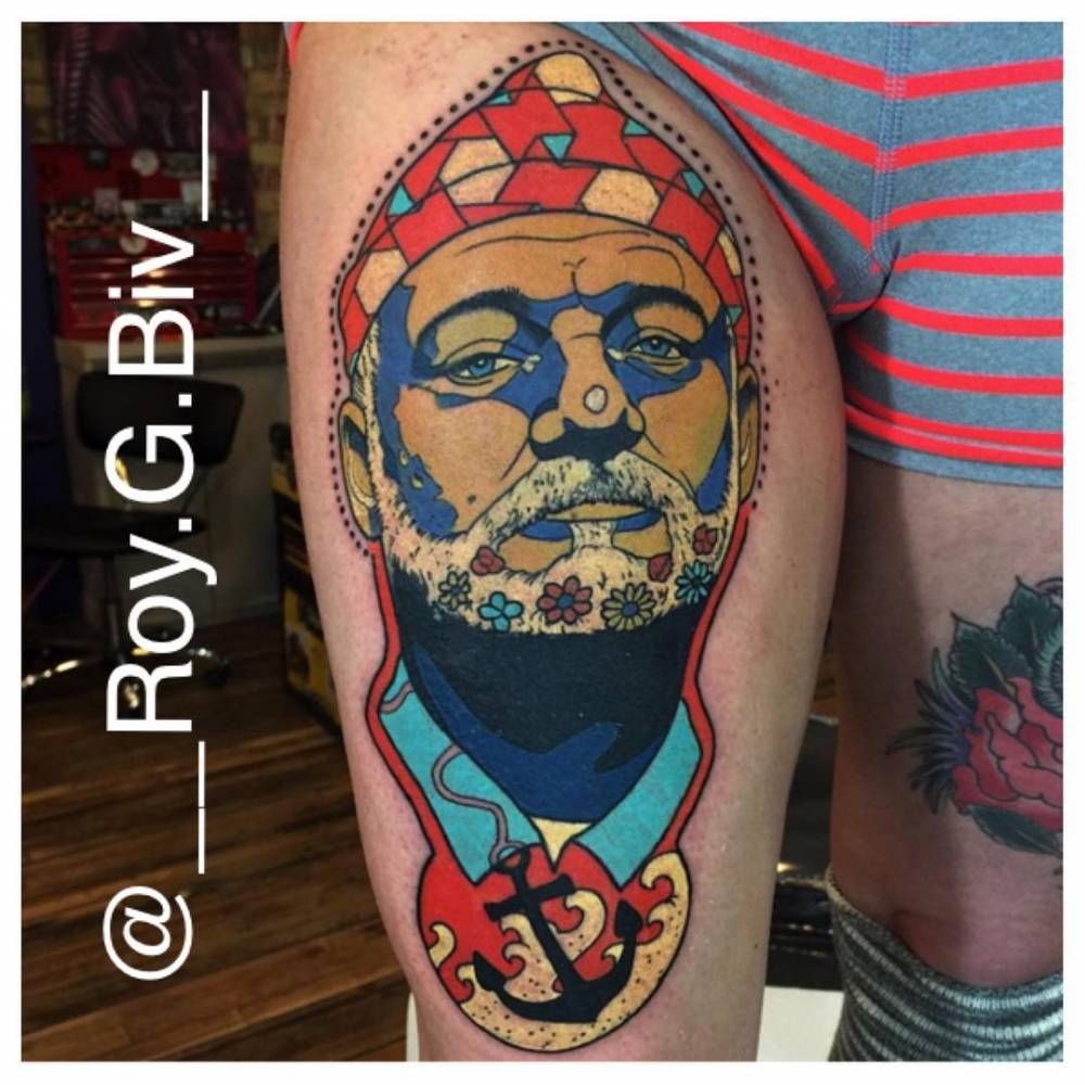 Psychedelic Style Bill Murray Portrait Tattoo On The Ideas And Designs