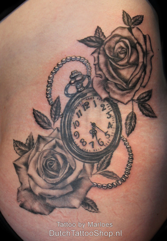 Black And Grey Roses Clock Rozen Klok Heup Tattoo Dutch Ideas And Designs