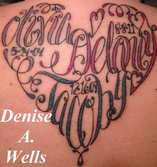 Names Made Into A Heart Shaped Tattoo By Denise A Wells Ideas And Designs
