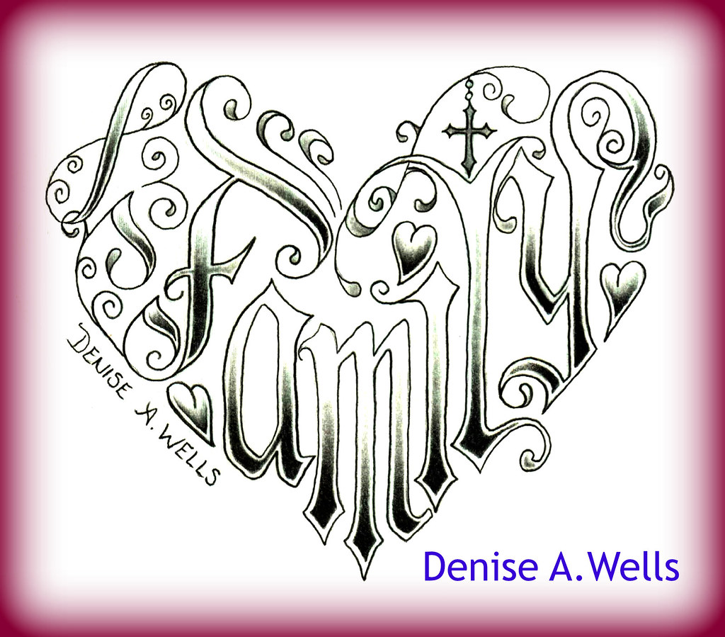 Word Family Made Into A Heart Shaped Tattoo Design By Deni Ideas And Designs